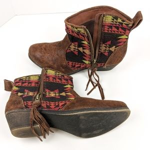 Big Buddha Aztec Print Brown Ankle Booties